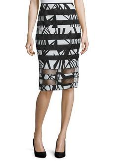 Lafayette 148 New York High-Waist Pencil Skirt W/Organza Stripes