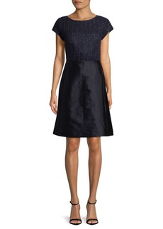 Lafayette 148 Hillany Mixed Media A-Line Dress