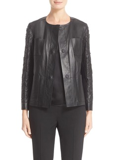 Lafayette 148 New York 'Holland' Laser Cut Paisley Tissue Weight Lambskin Leather Jacket