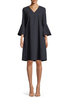 Lafayette 148 New York Holly Expedition-Cloth Ruffle-Cuff Shift Dress