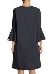 Lafayette 148 Holly Expedition-Cloth Ruffle-Cuff Shift Dress