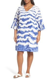Lafayette 148 New York Holly Print Bell Sleeve Silk Shift Dress (Plus Size)