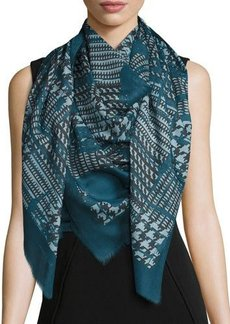 Lafayette 148 New York Houndstooth-Print Wool-Silk Scarf