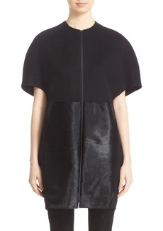 Lafayette 148 New York 'Iconic Collection - Makayla' Two Tone Double Face Coat with Genuine Calf Hair Trim
