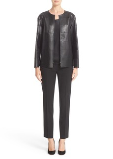 Lafayette 148 New York 'Iconic Collection - Murphy' Tissue Weight Lambskin Leather Jacket