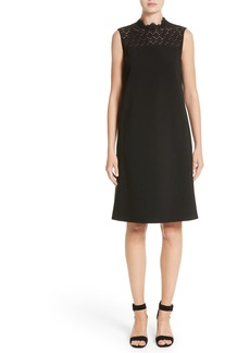 Lafayette 148 New York Ines Lace Trim Shift Dress