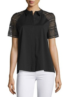 Lafayette 148 New York Ingrid Lace-Sleeve Button-Front Blouse