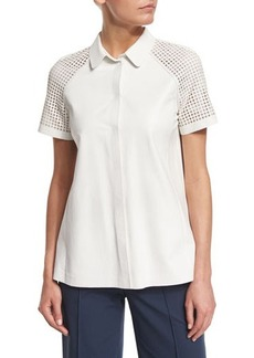 Lafayette 148 New York Ingrid Lamb Leather Blouse with Perforated Sleeves