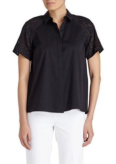 Lafayette 148 New York Ingrid Perforated-Sleeve Blouse