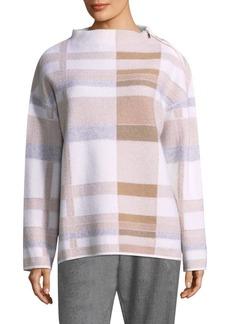 Lafayette 148 New York Intarsia Plaid Wool Sweater