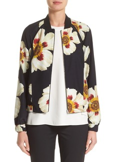 Lafayette 148 New York Irelyn Reversible Silk Bomber Jacket