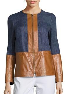 Lafayette 148 New York Isaiah Leather Paneled Jacket