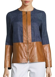 Lafayette 148 Isaiah Leather Paneled Jacket