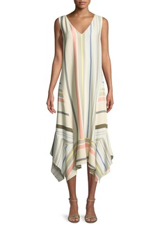 Lafayette 148 New York Isla Mesa Stripe V-Neck Dress