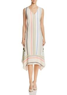 Lafayette 148 New York Isla Striped Handkerchief-Hem Dress