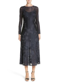 Lafayette 148 New York Ivonna Sheer Fil Coupé Midi Dress