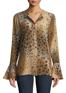 Lafayette 148 New York Izzie Agave Leopard-Print Silk Blouse w/ Bell Sleeves