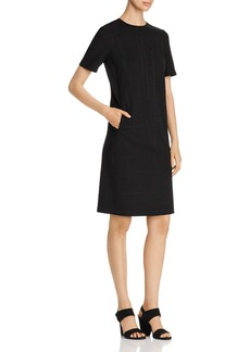 Lafayette 148 New York Jacintha Short-Sleeve Topstitched Shift Dress