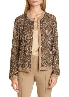 Lafayette 148 New York Jade Sequin Sweater Jacket