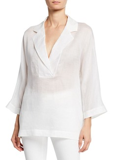 Lafayette 148 New York Jane Notched Collar 3/4-Sleeve Gemma Cloth Blouse
