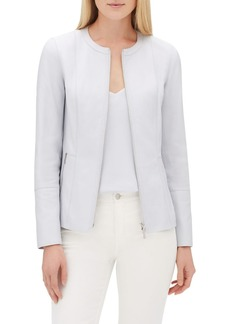 Lafayette 148 New York Janella Zip-Front Plonge Leather Jacket