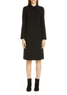 Lafayette 148 New York Janis Embellished Collar Long Sleeve Dress