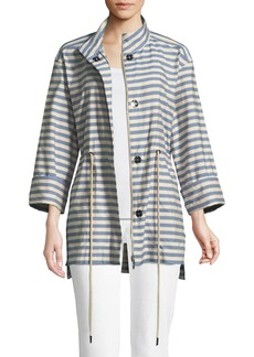 Lafayette 148 New York Jayna Vitality-Stripes Zip-Front Jacket