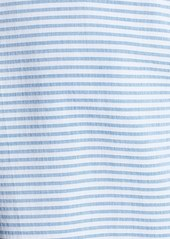 Lafayette 148 New York Jersey & Woven Stripe Cap Sleeve Tee