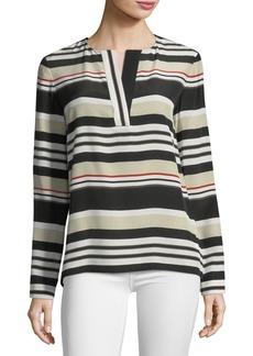 Lafayette 148 New York Joan Striped Long-Sleeve Silk Blouse
