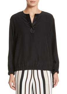 Lafayette 148 New York Joan Tie Hem Silk Blouse