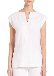 Lafayette 148 New York Joanie Embroidered Linen Blouse