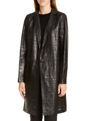 Lafayette 148 New York Jobelle Laser Cut Lambskin Leather Trench Coat