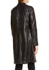Lafayette 148 New York Jobelle Laser Cut Lambskin Leather Trench Coat