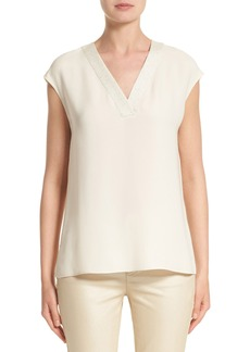 Lafayette 148 New York Jolet Knit Trim Blouse