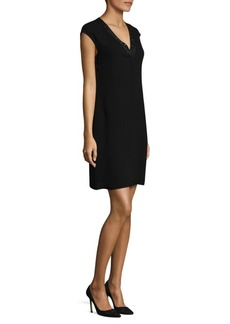 Lafayette 148 New York Jolet Knit-Trim Silk Dress