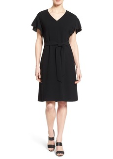 Lafayette 148 New York 'Jordana' Belted Flutter Sleeve Dress (Regular & Petite)