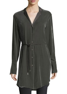 Lafayette 148 Jory Long-Sleeve Velvet Button-Down Tunic