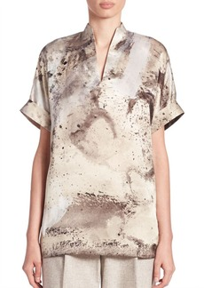 Lafayette 148 New York Josie Printed Silk Blouse