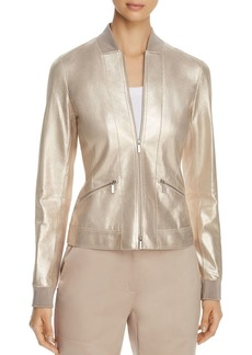 Lafayette 148 New York Juana Metallic-Suede Bomber Jacket