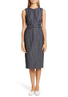 Lafayette 148 New York Jude Belted Faux Wrap Wool Blend Dress