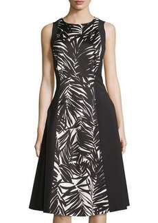 Lafayette 148 New York Judy Palm-Print Paneled Dress
