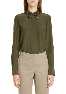 Lafayette 148 New York Julianne Silk Blouse with Detachable Collar