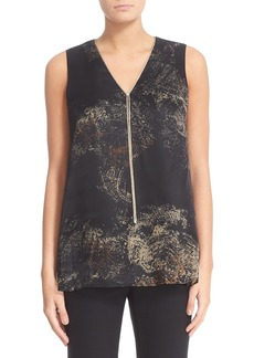 Lafayette 148 New York Julieta Premium Paisley Blouse with Chain Detail