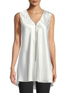 Lafayette 148 New York Julieta Sleeveless Chain-Trimmed Silk Blouse