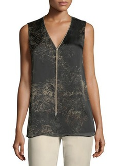 Lafayette 148 New York Julieta Sleeveless Paisley-Print Chain-Trimmed Silk Blouse