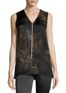 Lafayette 148 New York Julieta Sleeveless Paisley-Print Chain-Trimmed Silk Blouse