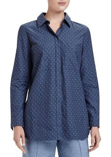 Lafayette 148 New York Kadin Polka-Dot Chambray Blouse
