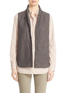 Lafayette 148 New York 'Kaelyn' Lambskin Leather Combo Vest
