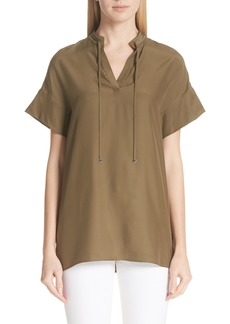 Lafayette 148 New York Kaitlyn Chain Detail Matte Silk Blouse