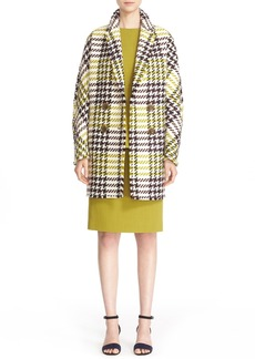 Lafayette 148 New York 'Katelyn' Leather Trim Wool Blend Check Coat